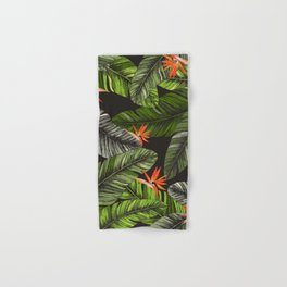 Exotic Leaves and Flowers Print Hand & Bath Towel