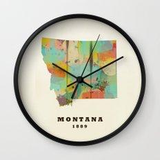 Montana state map modern Wall Clock