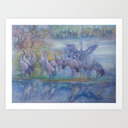 Wilde Birds in the forest lake Foggy morning Wildlife scene Autumn landscape pastel painting Art Print