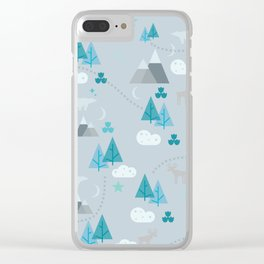 Winter Forest Mountains And Trees Clear iPhone Case