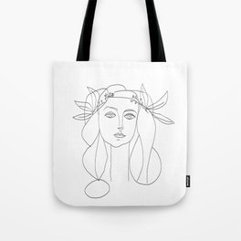 Picasso Line Art - Woman's Head Tote Bag