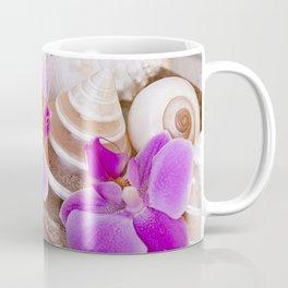 Pink Orchid and Sea Shell Maritime Still Life Coffee Mug