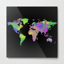 Neon & Black World Map Metal Print