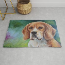 BEAGLE Cute Dog portrait oil painting on canvas Decor for Pet lover Green background Rug