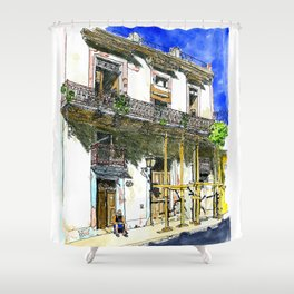Man Sitting in Front of His House, Habana Vieja, Cuba Shower Curtain