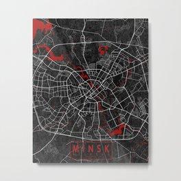 Minsk City Map of Belarus - Oriental Metal Print