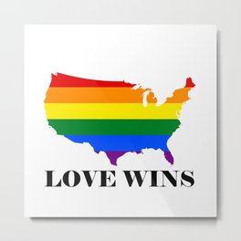 Love Wins Map White Background Black Text Metal Print