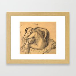 After the Bath, Woman Drying Her Hair Framed Art Print