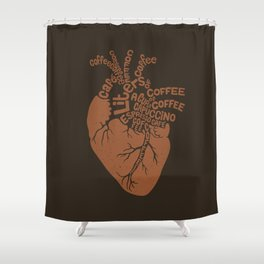 Coffee Lover Heart Shower Curtain