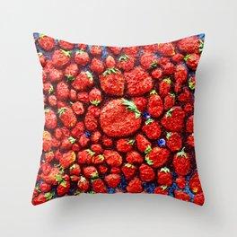 million strawberrys Throw Pillow