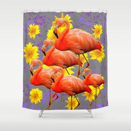 YELLOW FLOWERS  GREY ART DECO SAFFRON FLAMINGOS ART Shower Curtain