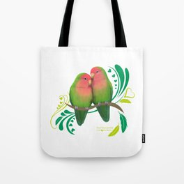Peach Faced Lovebirds Tote Bag