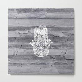 White hand drawn Hamsa hand of fatima on wood  Metal Print