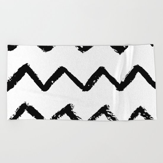 Chevron Stripes Black and White Beach Towel