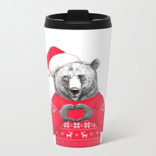 christmas bear Metal Travel Mug