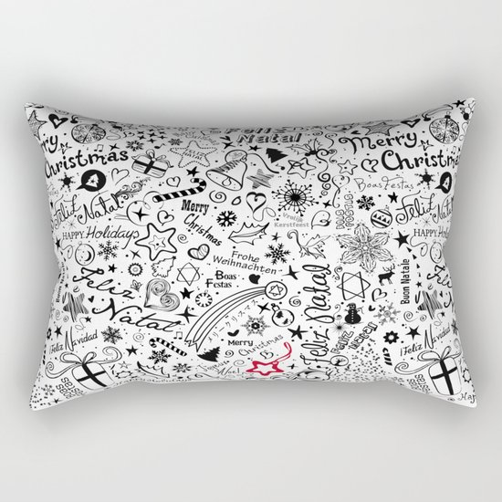 Merry Christmas Multiple languages Rectangular Pillow