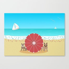 Holiday Romance - Behind the Red Umbrella Canvas Print
