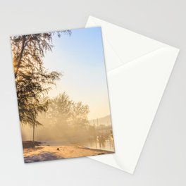 Misty morning on a river estuary, Trang province, Thailand Stationery Cards