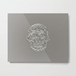 Embossed Style Silver Skull Metal Print