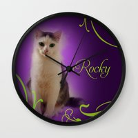 rocky Wall Clocks featuring Rocky by Flavia Jurca