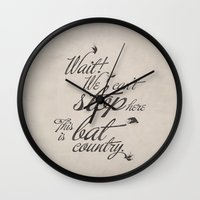 fear and loathing Wall Clocks featuring Fear and Loathing in Las Vegas by Caz Lock Draws