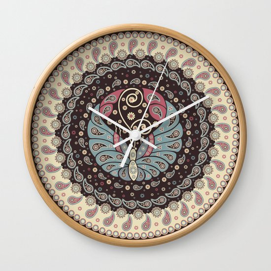 Butterfly Mandala Wall Clock
