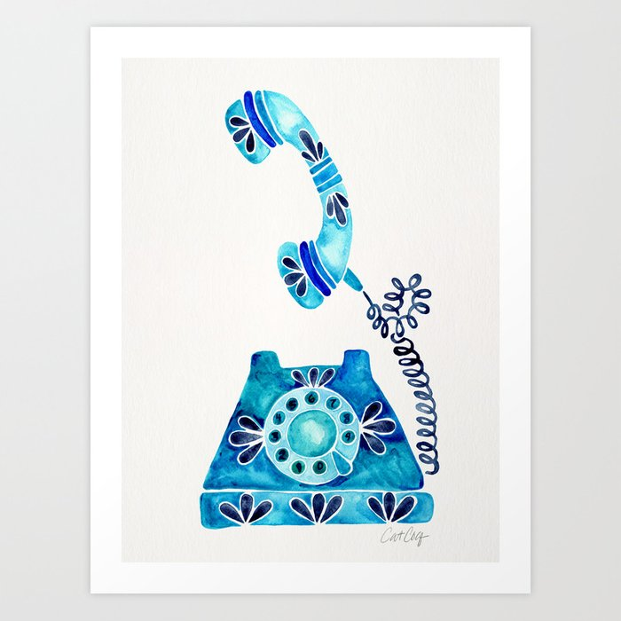 Vintage Rotary Phone – Blue Raspberry Art Print