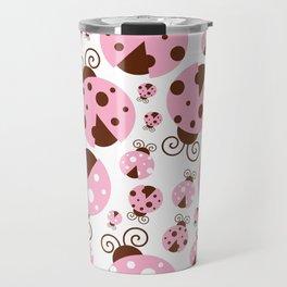 Ladybugs (Ladybirds, Lady Beetles) - Pink Brown Travel Mug