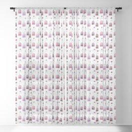Pink Tea Bags Sheer Curtain