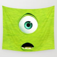 monster inc Wall Tapestries featuring Monster Inc Mike by Veylow