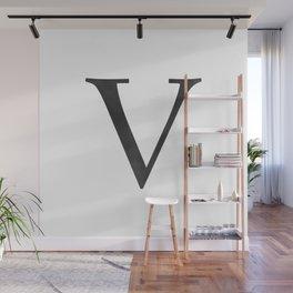 Letter V Initial Monogram Black and White Wall Mural