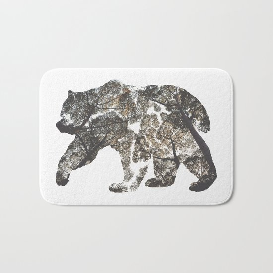 Bear Silhouette With Trees Bath Mat