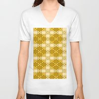 yellow pattern V-neck T-shirts featuring Puzzle Pattern,yellow by MehrFarbeimLeben