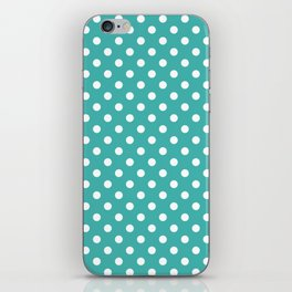 Small Polka Dots - White on Verdigris iPhone Skin