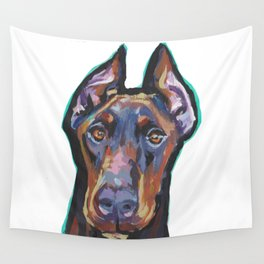 Fun Doberman Pinscher Dog Portrait bright colorful Pop Art by LEA Wall Tapestry