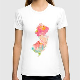 new jersey floral state map T-shirt