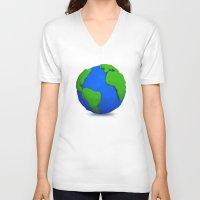 globe V-neck T-shirts featuring Globe by Tassos Kotsiras
