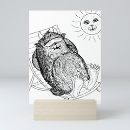 Mega Monster Sunbath BW Mini Art Print