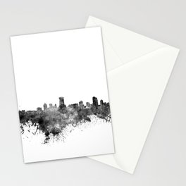 Milwaukee skyline in black watercolor Stationery Cards