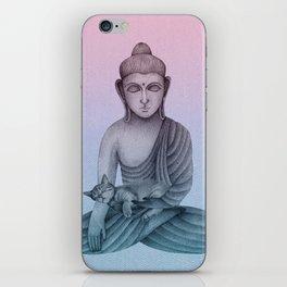 Buddha with cat1 iPhone Skin
