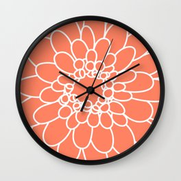 Coral Chrysanth Wall Clock