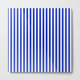 Cobalt Blue and White Vertical Deck Chair Stripe Metal Print