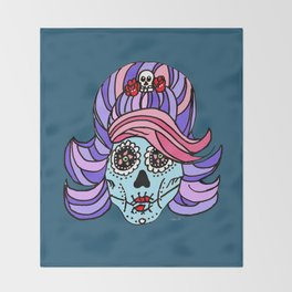 Rockabilly Sugar Skull Throw Blanket