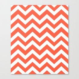 Tomato - red color - Zigzag Chevron Pattern Canvas Print
