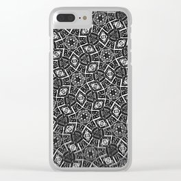 Blurry Moorish Nights: Black and White Clear iPhone Case