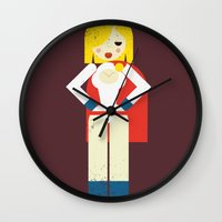 girl power Wall Clocks featuring Power Girl by Marco Recuero