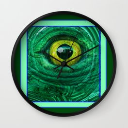 Mystic Golden Lizard Eye  In Green Teal-Malachite Wall Clock