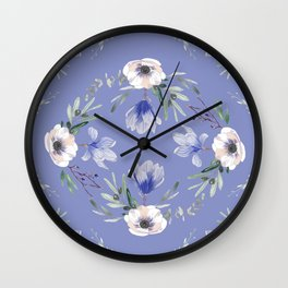 Floral Square Blue Wall Clock
