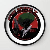 cowboy bebop Wall Clocks featuring Bebop Spike by AngoldArts