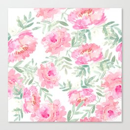 Watercolor Peonie with greenery Canvas Print